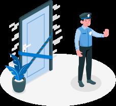 Policial com mão estendida